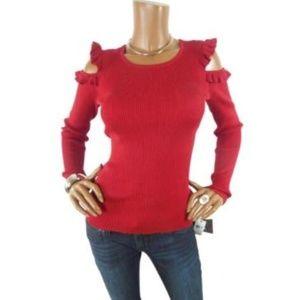 IZ BYER M NWT $48 Red Sweater Cold Shoulder